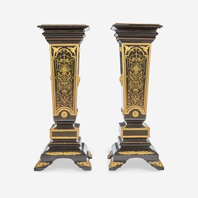Lot 18 - A Pair of Louis XIV Style Boulle Marquetry Inlaid Gilt-Bronze Mounted Ebonized Marble Top Pedestals