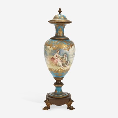 Lot 52 - A Sèvres Style Porcelain Gilt-Bronze Mounted Hand-Painted Covered Vase