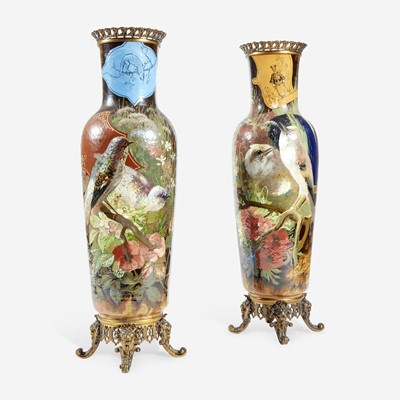 Lot 71 - A Pair of Large French 'Japonisme' Faience and Bronze Mounted Vases
