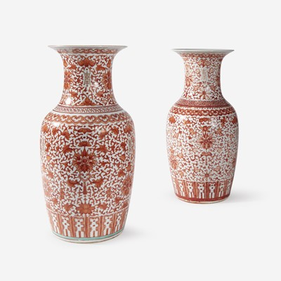 Lot 85 - A Near Pair of Chinese Iron-Red and Gilt Baluster Vases