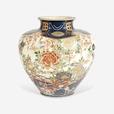 Lot 90 - A Large Satsuma Enamelled Pottery Vase