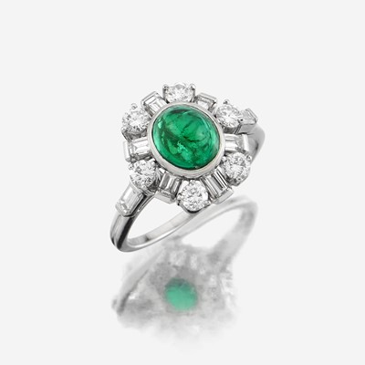Lot 75 - An emerald, diamond, and platinum ring, Tiffany & Co.