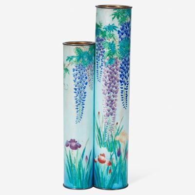 Lot 193 - A Japanese ginbari cloisonné double vase日本七宝烧双联瓶