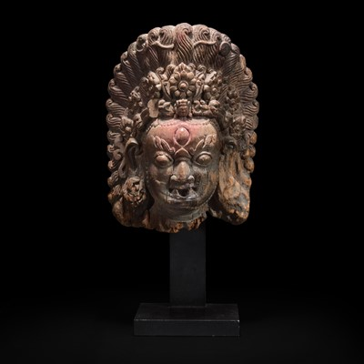 Lot 165 - A Nepalese carved wood mask of Bhairava 尼泊尔陪胪木面具