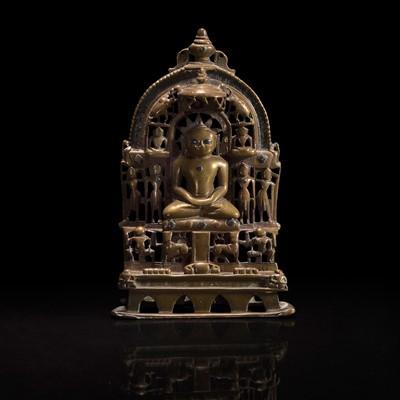 Lot 168 - An Indian silver-inlaid brass Jain Shrine 印度耆那教铜嵌银神龛