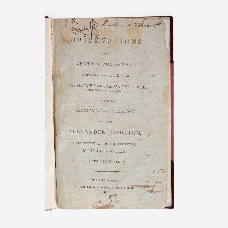 Lot 41 - [Hamilton, Alexander] [Reynolds Pamphlet]