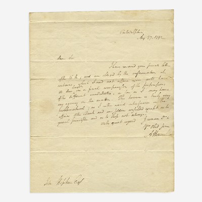Lot 25 - [Hamilton, Alexander] [First Bank of the United States]
