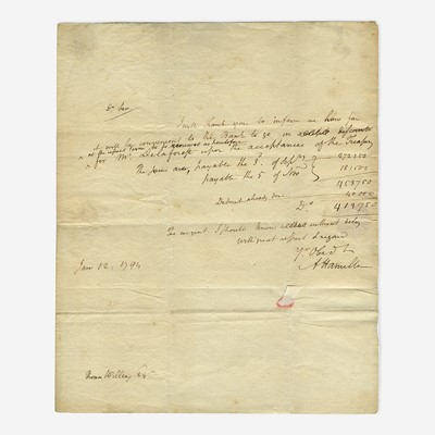 Lot 34 - [Hamilton, Alexander] [First Bank of the United States]