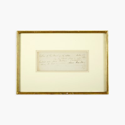 Lot 40 - [Hamilton, Alexander] [First Bank of the United States]