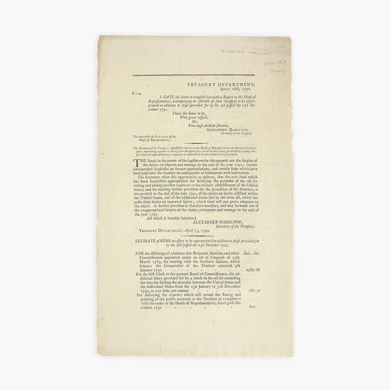 Lot 24 - [Hamilton, Alexander] [Treasury Department]