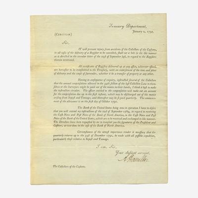 Lot 19 - [Hamilton, Alexander] [Treasury Department]