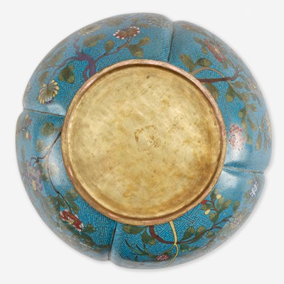 Lot 59 - A Chinese turquoise ground lobed jardinière 铜胎松石绿地瓜棱盆