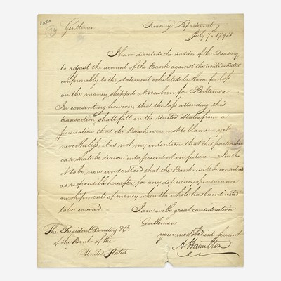 Lot 37 - [Hamilton, Alexander] [First Bank of the United States]
