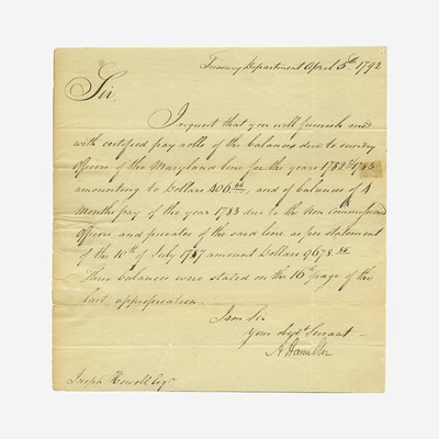 Lot 23 - [Hamilton, Alexander] [Treasury Department]