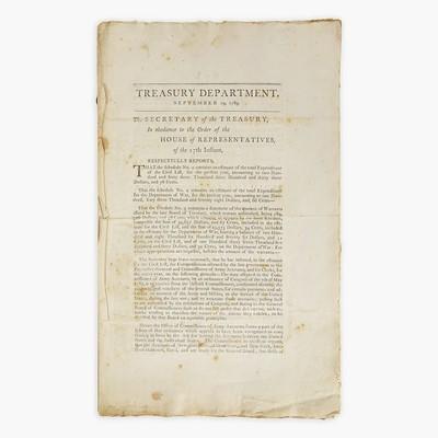 Lot 5 - [Hamilton, Alexander] [Treasury Department]