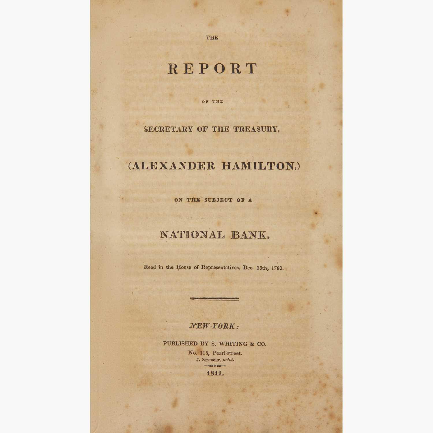 Lot 14 - [Hamilton, Alexander] [First Bank of the United States]