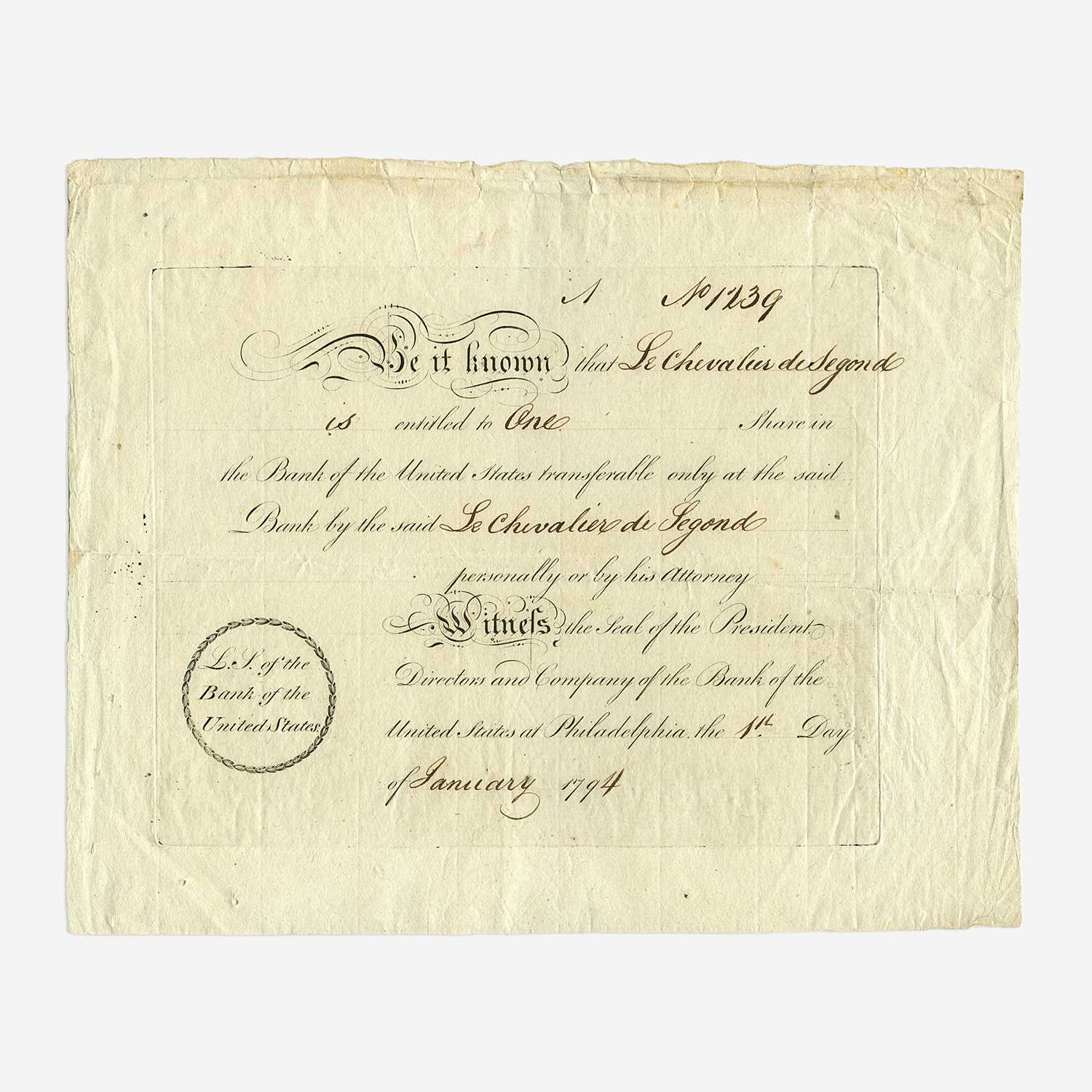 Lot 33 - [Hamilton, Alexander] [First Bank of the United States]