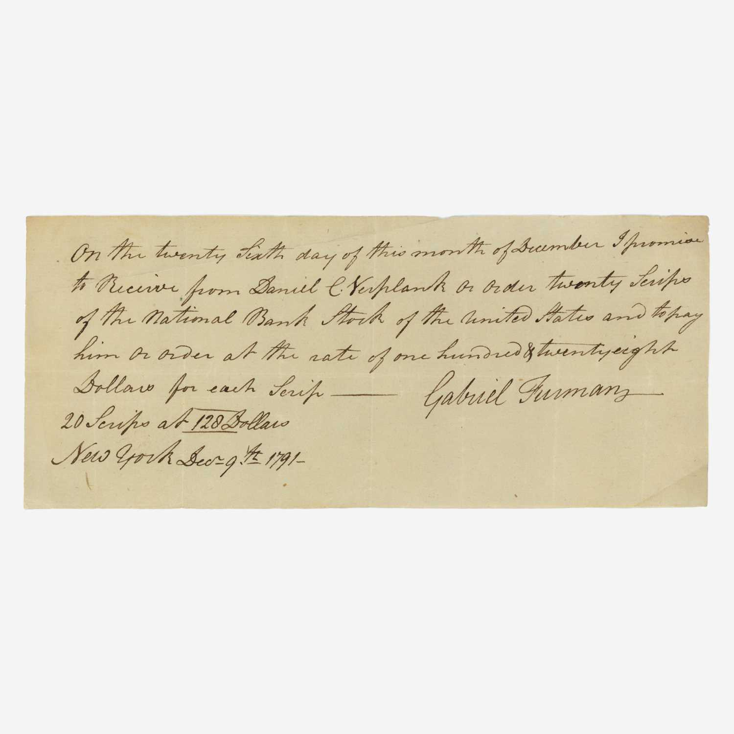 Lot 15 - [Hamilton, Alexander] [First Bank of the United States]