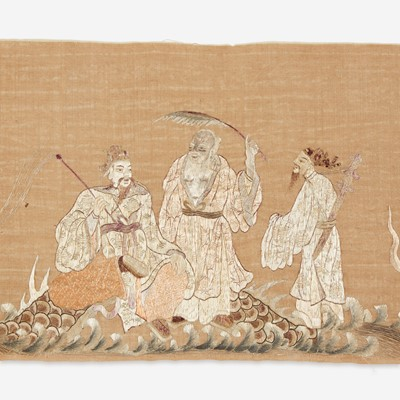 Lot 69 - A Chinese embroidered  panel depicting the eight Daoist Immortals with dragon 道教八仙刺绣