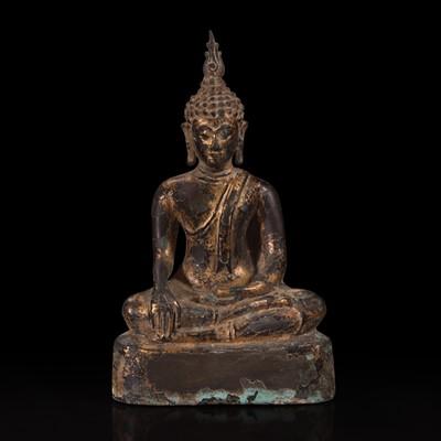 Lot 181 - A Thai gilt lacquered bronze seated Buddha 泰国鎏金铜佛造像坐像