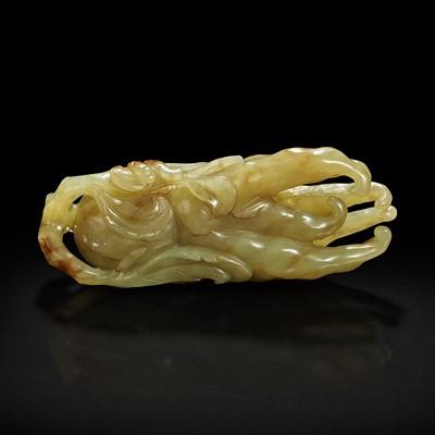 "Lot 132 - A Chinese celadon jade ""Buddha's hand"" citron pendant 青玉佛手"