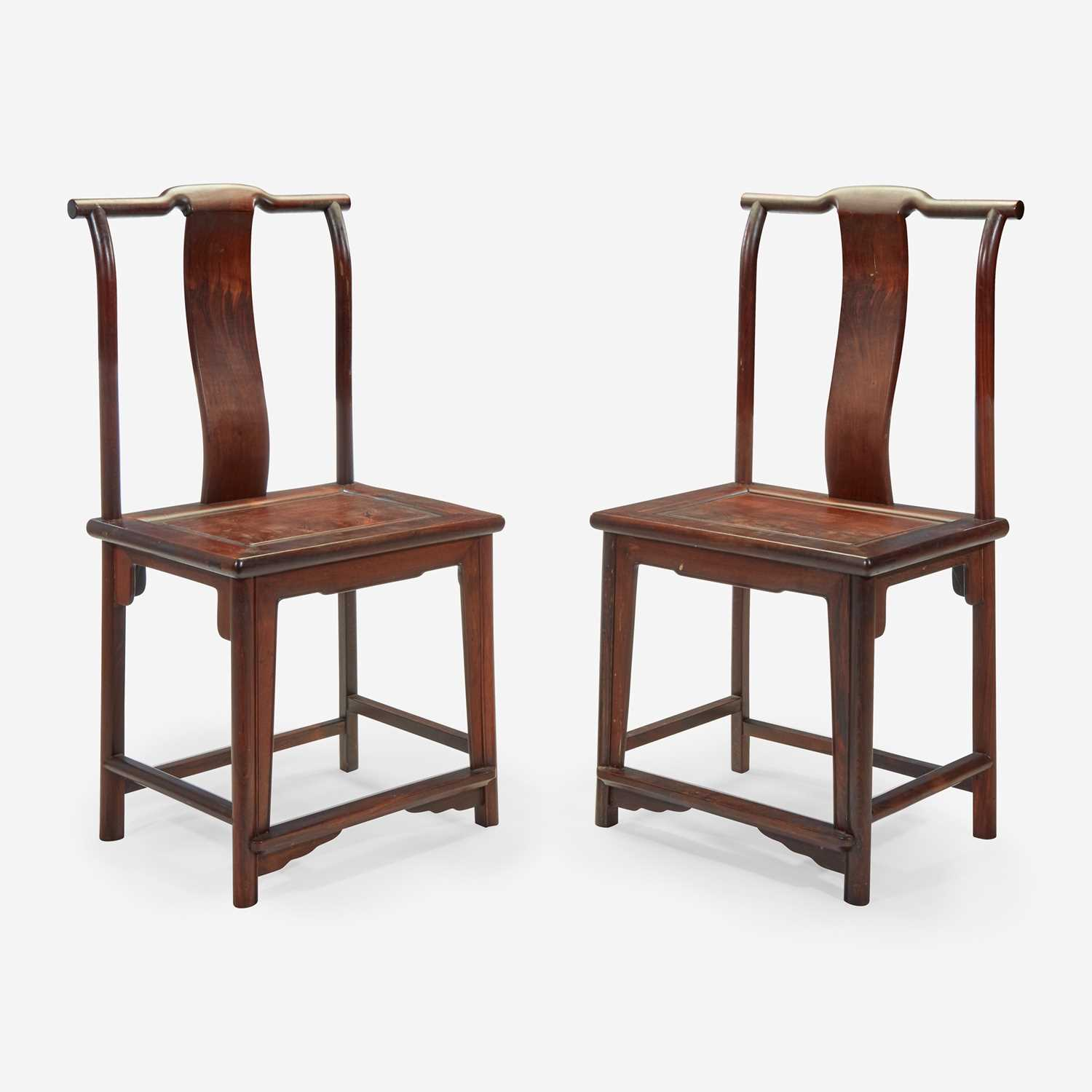 Lot 96 - A pair of Chinese side chairs, possibly jichimu 椅子一对 或鸡翅木