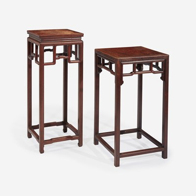 Lot 103 - Two Chinese hardwood stands 硬木香几两件