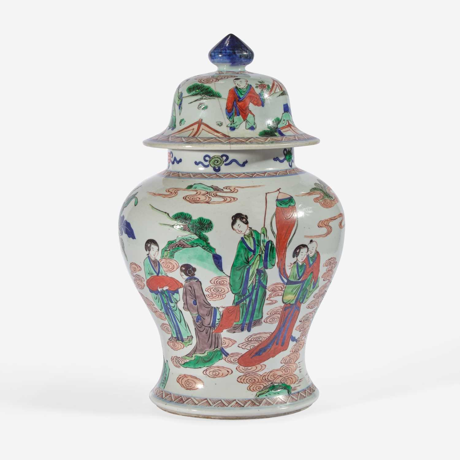 Lot 98 - A Chinese wucai-decorated porcelain jar and cover 五彩盖罐