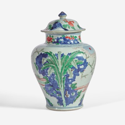 Lot 94 - A Chinese wucai-decorated porcelain jar and cover 五彩盖罐