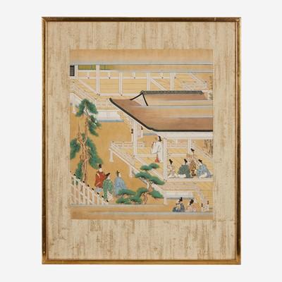 Lot 81 - A group of seven Japanese Tosa school figural scenes 日本版画一组七件