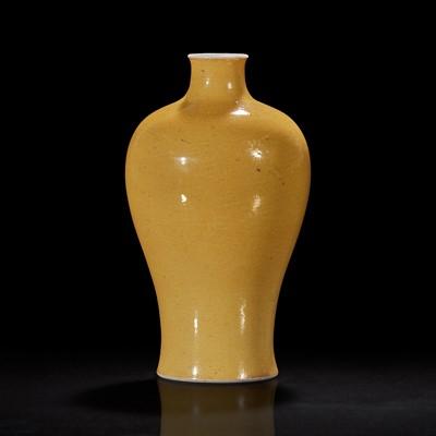 Lot 93 - A Chinese yellow-glazed porcelain meiping vase 黄釉梅瓶