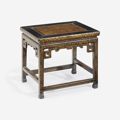 Lot 90 - A Chinese lacquer stool 漆金炕桌