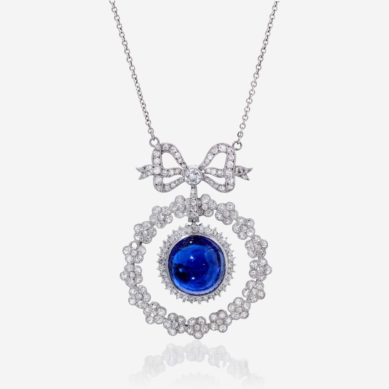 Lot 62 - A sapphire, diamond, and eighteen karat white gold necklace