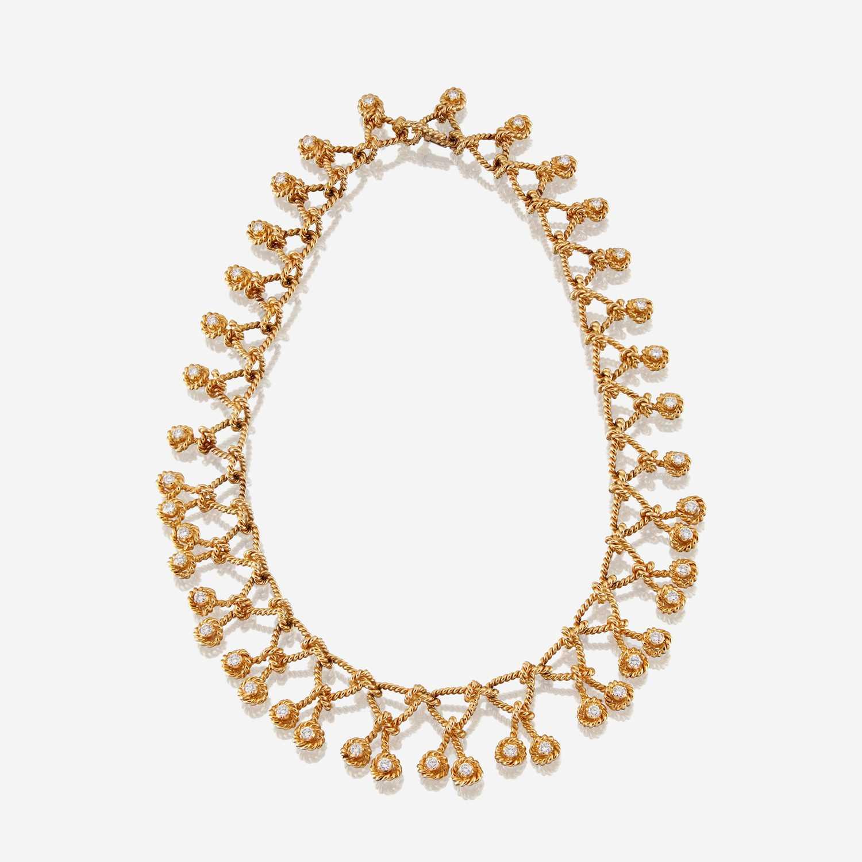 Lot 30 - An eighteen karat gold and diamond necklace, Verdura