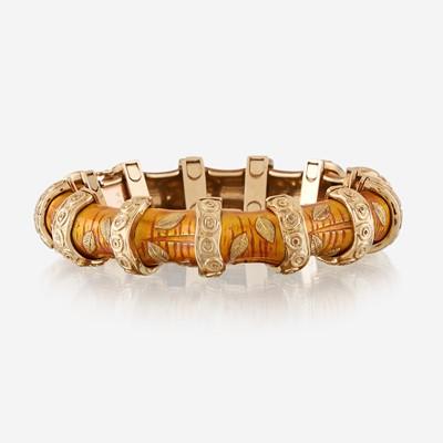 Lot 12 - An eighteen karat gold and enamel bracelet, Van Cleef & Arpels