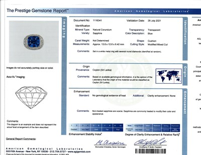 Lot 61 - A sapphire, diamond, and platinum ring, R Simantov