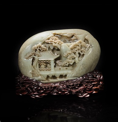 """Lot 140 - A large Chinese carved greyish celadon jade """"Mountain"""" boulder and carved wood stand 灰青玉山子带底座"""
