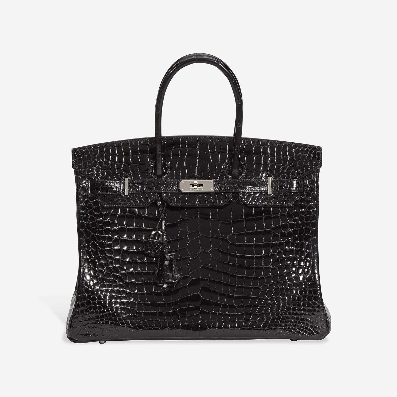 Lot 74 - A shiny black Crocodile Porosus palladium hardware Birkin 35, Hermès