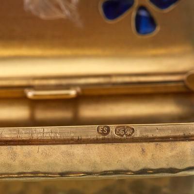 Lot 33 - An eighteen karat gold and sapphire case, Fabergé