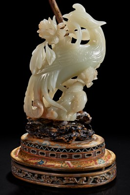 Lot 105 - A Chinese jade figure of a phoenix mounted as a lamp 玉凤鸟镶嵌台灯
