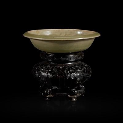 Lot 3 - A small Chinese Yaozhou celadon molded brush washer 耀州窑印花小水洗