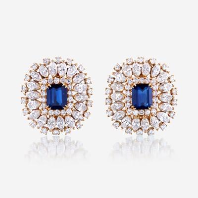 Lot 32 - A pair of sapphire, diamond, and eighteen karat gold ear clips