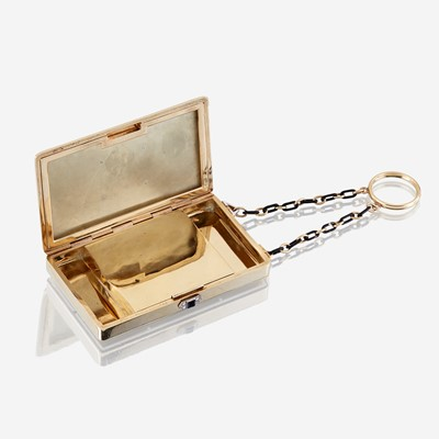 Lot 3 - An eighteen karat gold, polychrome enamel, and diamond finger ring compact