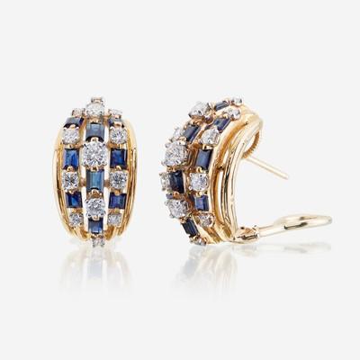 Lot 31 - A pair of sapphire, diamond, eighteen karat gold, and platinum earrings, Oscar Heyman