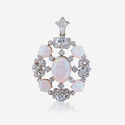 Lot 64 - An opal, diamond, and eighteen karat gold pendant, Tiffany & Co.