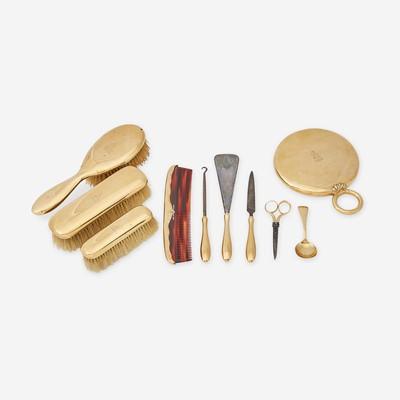Lot 2 - An antique fourteen karat gold and metal vanity set, J.E. Caldwell & Co.