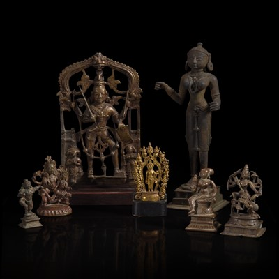 Lot 176 - A group of seven assorted Indian and Himalayan bronzes 印度及喜马拉雅铜佛造像一组七件