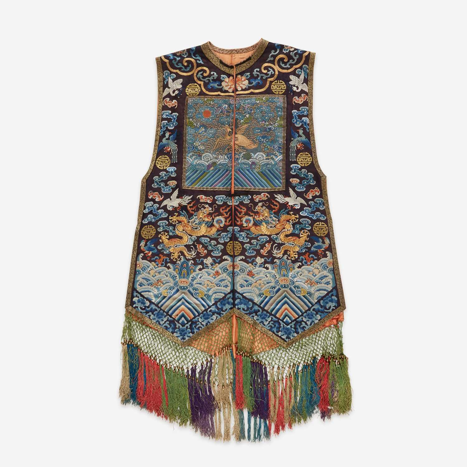 Lot 66 - An unusual Chinese embroidered gauze woman's vest, Xiapei 刺绣女士马甲霞帔