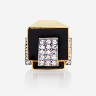 Lot 11 - An eighteen karat gold, platinum, enamel, and diamond ring, David Webb