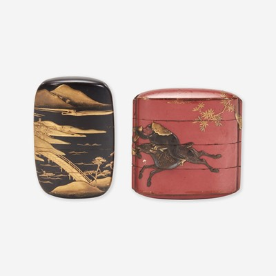 Lot 191 - Two Japanese lacquered inro 日本印笼一组两件